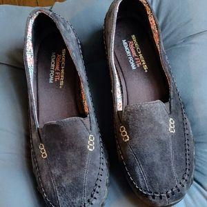 Women's Skechers grey suede slip on's